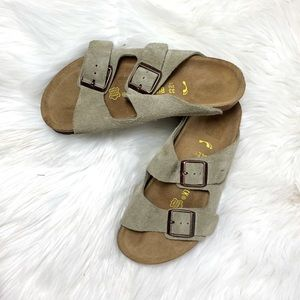 Birkenstock Arizona suede kids sandals taupe